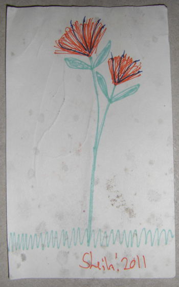 a drawing of a flower with mold spots on it